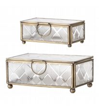 Glass Jewellery Boxes Set Of 2 With Gold Trim