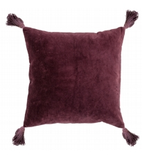 Red Cotton Cushion With Tassels