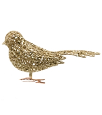 Glittered Clip Bird Light Gold