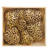 Gold Metal Hearts In A Box