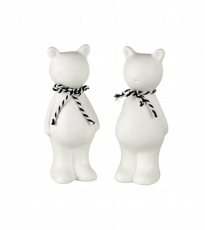 White Ceramic Buckley Bear - 2 Assorted