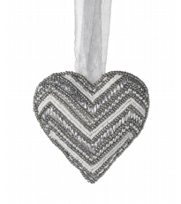 Hanging Beaded Silver Heart