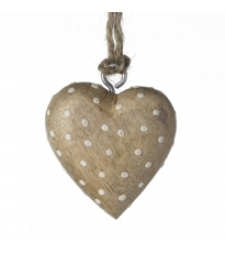 Natural Wood Dotty Heart