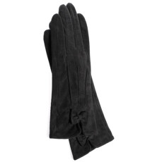 Charcoal Gloves With Bow Detail