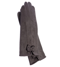 Grey Gloves With Bow Detail