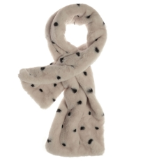 Faux Fur Cream Blk Spot Tippet