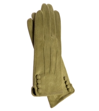 Lime Gloves With  Button Detail