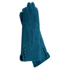 Teal Gloves With Button Detail