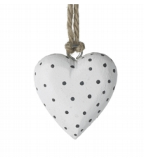 White Wood Dotty Heart
