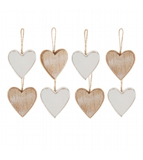 Set Of 8 White And Wood Hearts