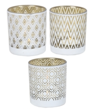 White And Gold Tea Light Holder - 3 Assorted
