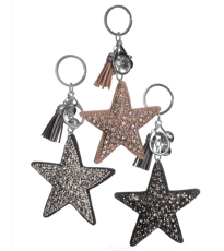 Glamour Sparkle Star Key Ring - 3 Assorted