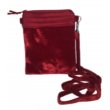 Mini Velvet Bag With Strap -Red