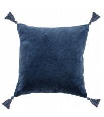 Blue Cotton Cushion With Tassels