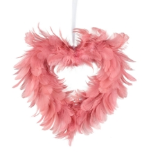 Hanging Feather Heart  -  Blush