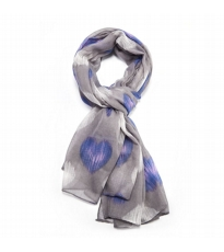 Smudge Heart Scarf - Grey