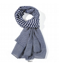 Variegated Stripe Scarf - Navy