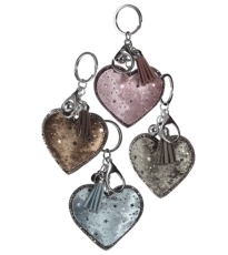 Luxe Velvet Heart Kery Ring Assorted 4