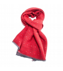 Pleated Dotty Scarf Red And Grey