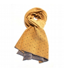 Pleated Dotty Scarf Mustard And Grey