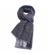 Pleated Dotty Scarf Charcoal And Grey