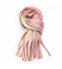 Check Mohair Scarf Pink