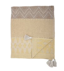Yellow Patterned Tassel Throw