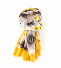 Watercolour Bloom Scarf Yellow