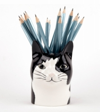 Black & White Cat Pencil Pot