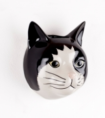 Black & White Cat Wall Vase