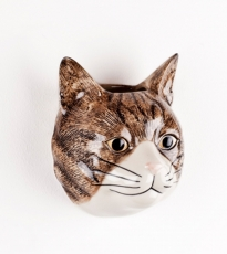 Tabby Cat Wall Vase