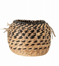 Natural Basket  Black Weave