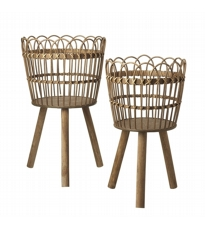 Wicker Standing Basket Small