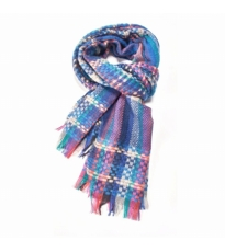 Happy Check Scarf Blue